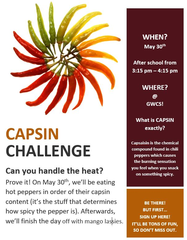 Click Here to sign up for the Capsin Challenge!