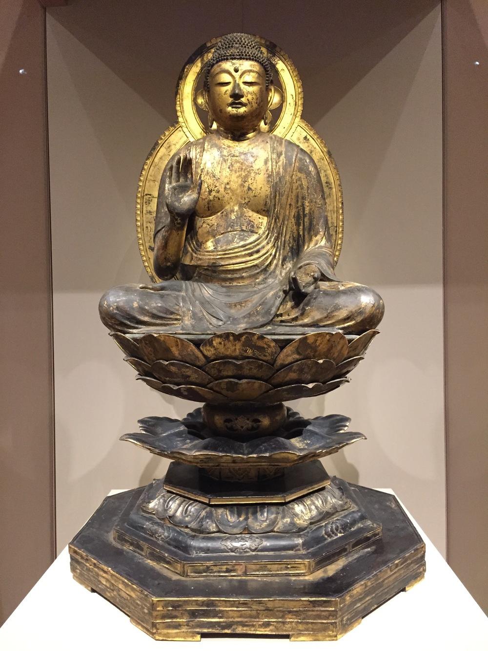 Yakushi-Nyorai Buddha,   1100s  Gilded wood  Japan, late Heian period (about 900-1185)