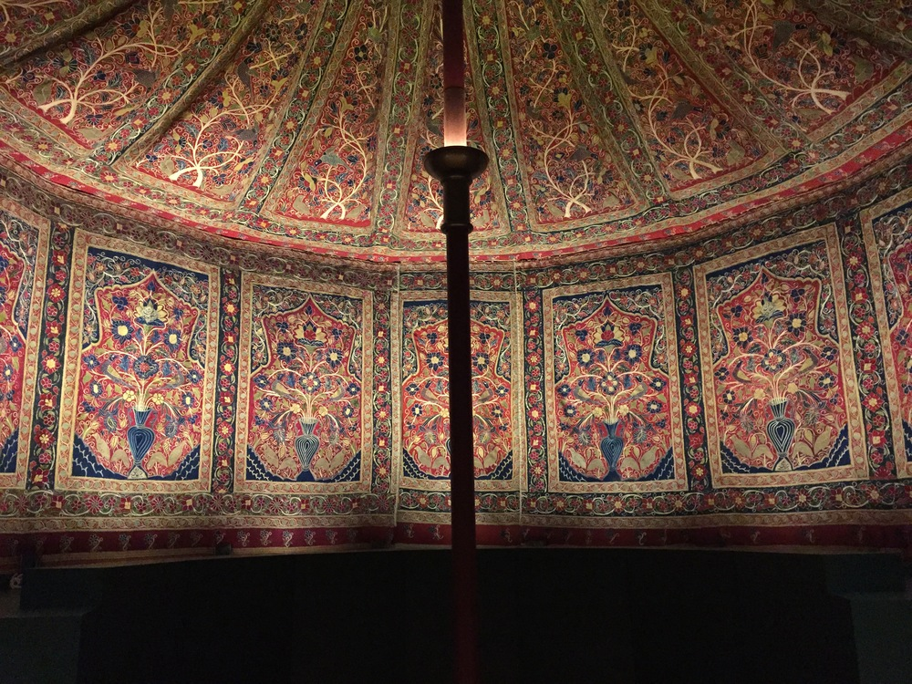 Royal Tent Made for Muhammad Shah   (ruled 1834-48)  Interior: wool: plain weave, inlaid work; silk: embroidery, chain stitch; tape; leather  Exterior: cotton, wool: plain weave; rope; iron ring  Iran, Rasht, Qajar period (1779-1925)