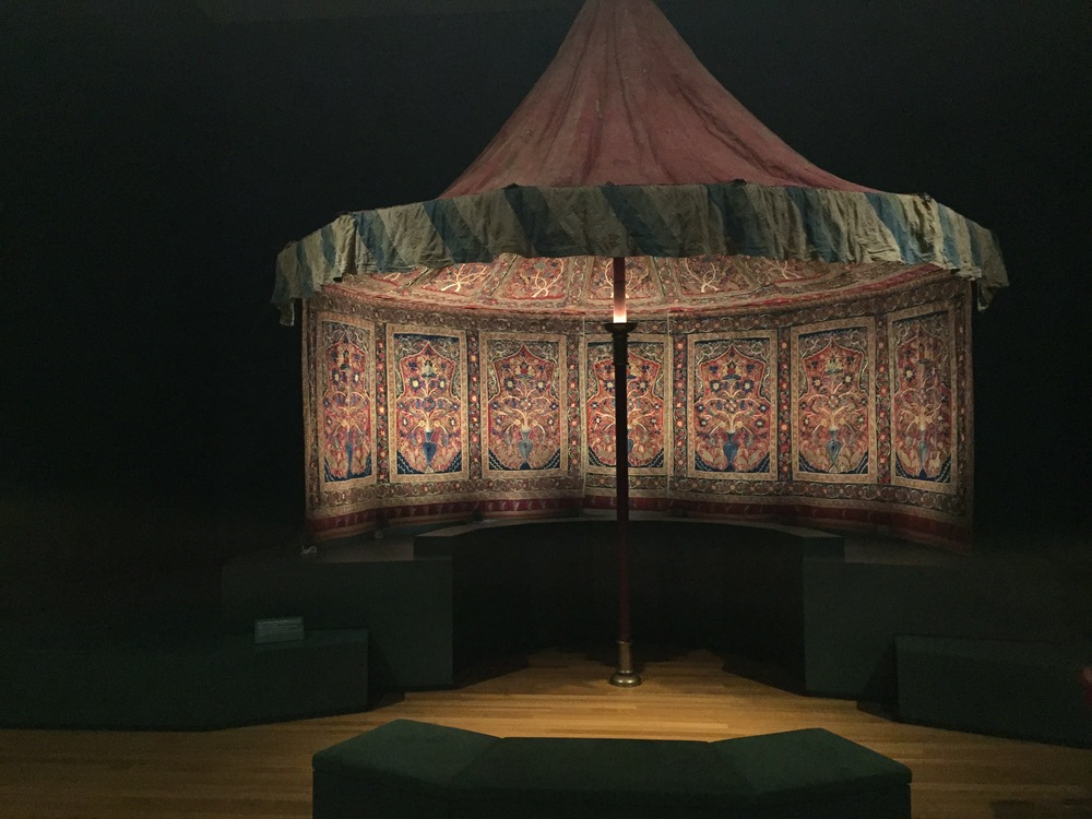 Royal Tent Made for Muhammad Shah   (ruled 1834-48).    Interior: wool: plain weave, inlaid work; silk: embroidery, chain stitch; tape; leather.    Exterior: cotton, wool: plain weave; rope; iron ring.    Iran, Rasht, Qajar period (1779-1925).