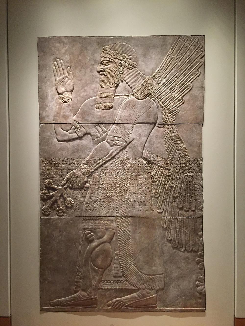 Saluting Protective Spirit,   883-859BC  Gypsum  Neo-Assyrian, Iraq, Nimrud, NW Palace
