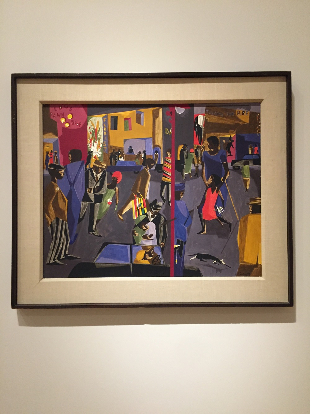 Fulton and Nostrand,   1958  Tempera on masonite  Jacob Lawrence (American, 1917-2000)