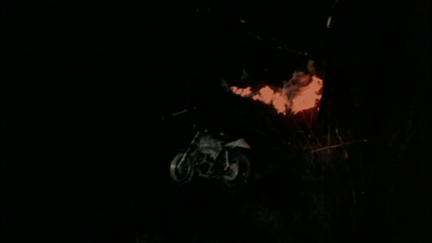 This is as close as this movie gets to showing a werewolf and some wheels in the same frame. (The flaming thing is a werewolf.)