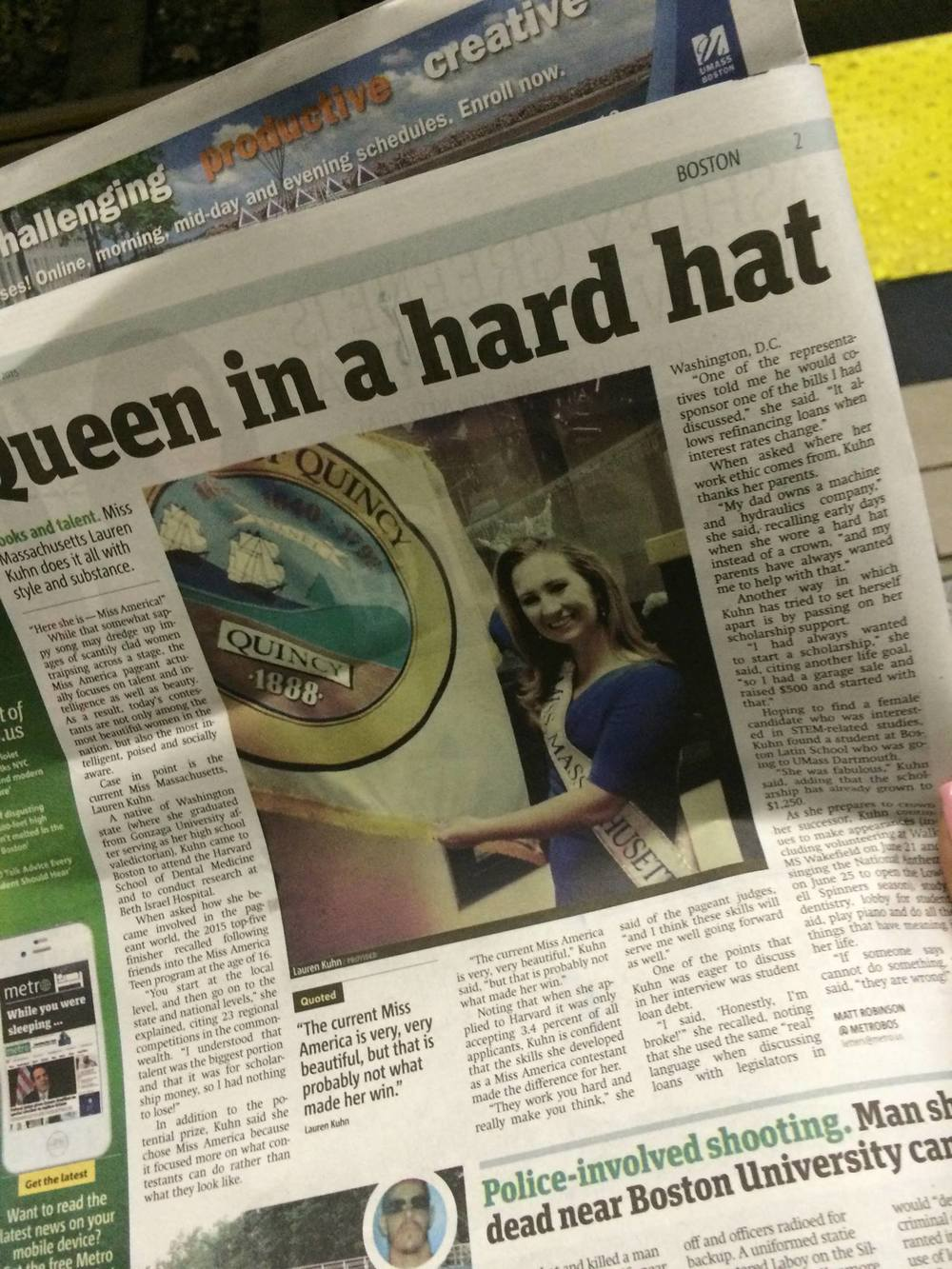 Boston Metro - Front Page Lauren Kuhn, Queen in a hard hat!  June 2015