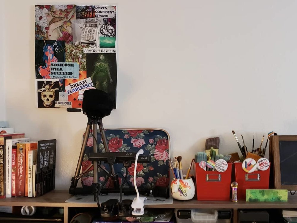 My 2019 Vision Board hung in my studio space