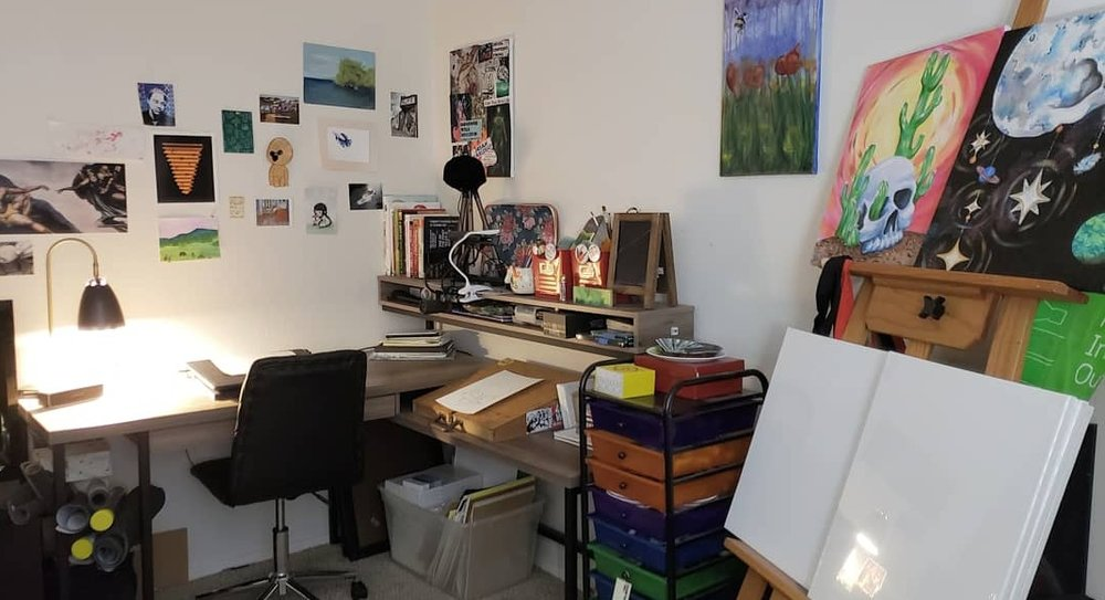 Freshly organized studio space for 2019