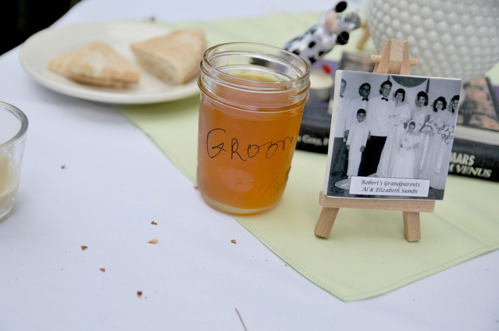 "Close up of my husband's grandparent's wedding picture.  And the ""groom"" drinking glass.  Notice the cow in the background?  That's an inside joke from my maid of honor.  Picture by Natalie Arabadzhi Photography"