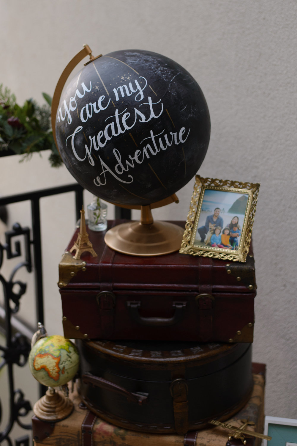 Chalkboard Globe by Brittany Hampton Design-luggage and styling by us