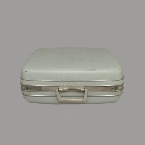 Large Light Blue Vintage Suitcase With Silver Lining — Power of Love