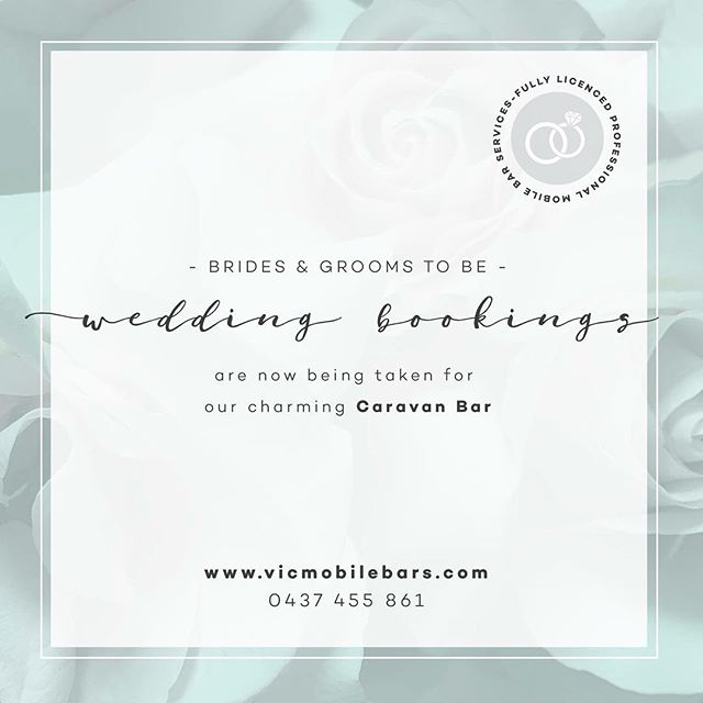 Brides and Grooms to be! Get in quick to book our charming Caravan Bar for your big day!  Our Fully Licenced Caravan Bar comes with 3 taps for beer/cider, not to mention we make a mean cocktail - sure to be crowd pleasers on your special day! 🍷 🍻 💍  For more more info you can find us at www.vicmobilebars.com or please feel free to call us today on ☎ 0437 455 861  Cheers!  #caravanbar #popupbar #fullylicensed #tapbeer #cider #beer #wine #weddinghire #eventhire #weddingpackages #ballaratwedding #ballaratbrides #unique #mobilebar #visitballarat #creswick #daylesford #bendigo #bendigobride #bridetobe #groom