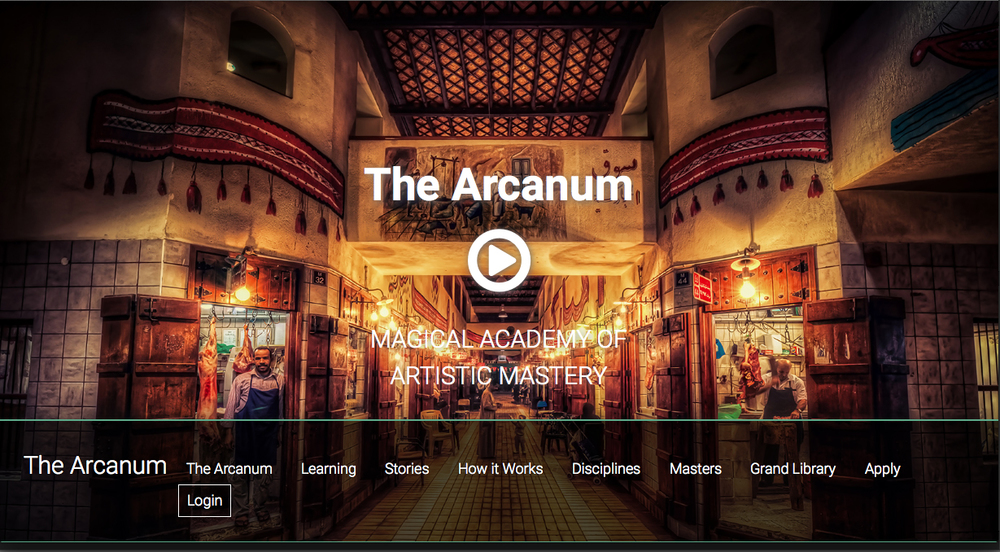 One of the homepage screens, featuring an image taken by one of the Arcanum apprentices