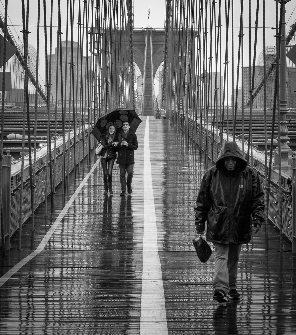 One of my favorite recent street shots. Getting out in the rain on the Brooklyn Bridge, NYC, December 2015