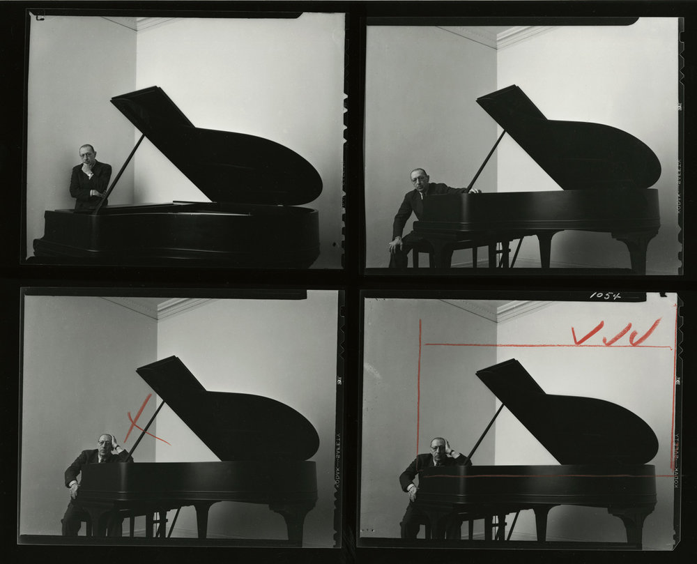 Original contact sheets for the Stravinsky portrait.