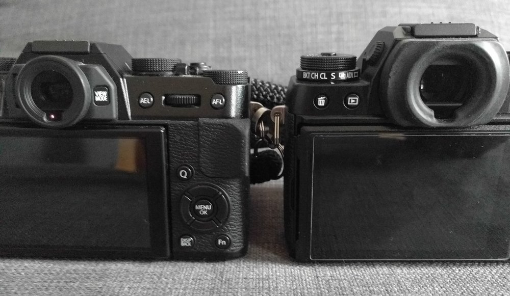 Fujifilm X-T10 (left, 17.5mm eye relief) vs. X-T1 (23mm)