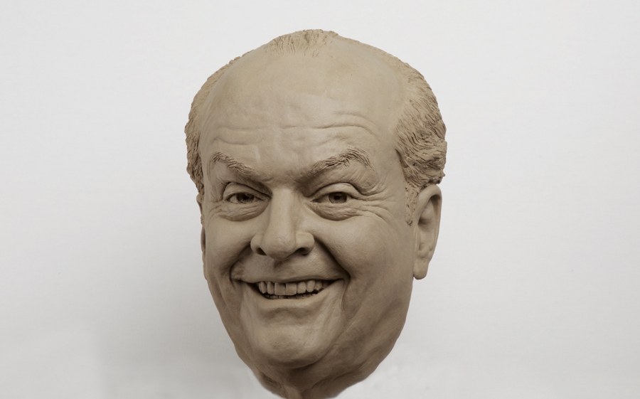 Jack Nicholson clay portrait sculpture