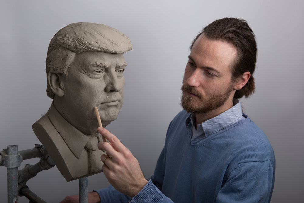 Trump clay sculpture