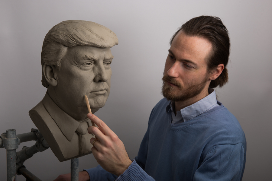 Donald Trump clay portrait sculpture