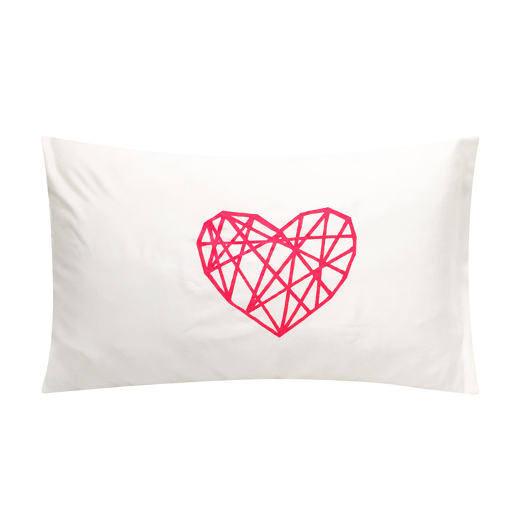 Gifts like the Geo Heart Neon Red Tencel Pillowcase from Lazy Sunday Home.