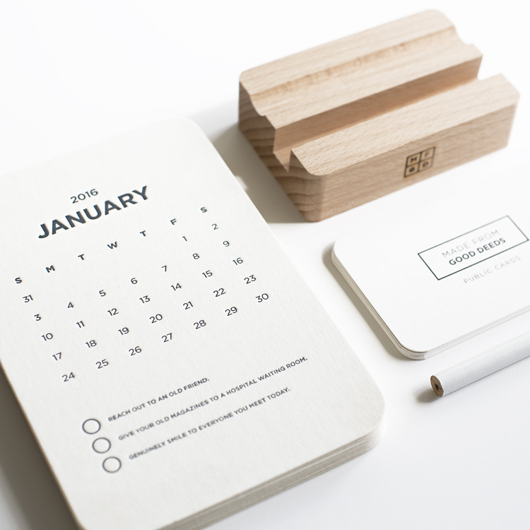 And unique products with a positive twist like our very own MFGD 2016 Desk Calendar.