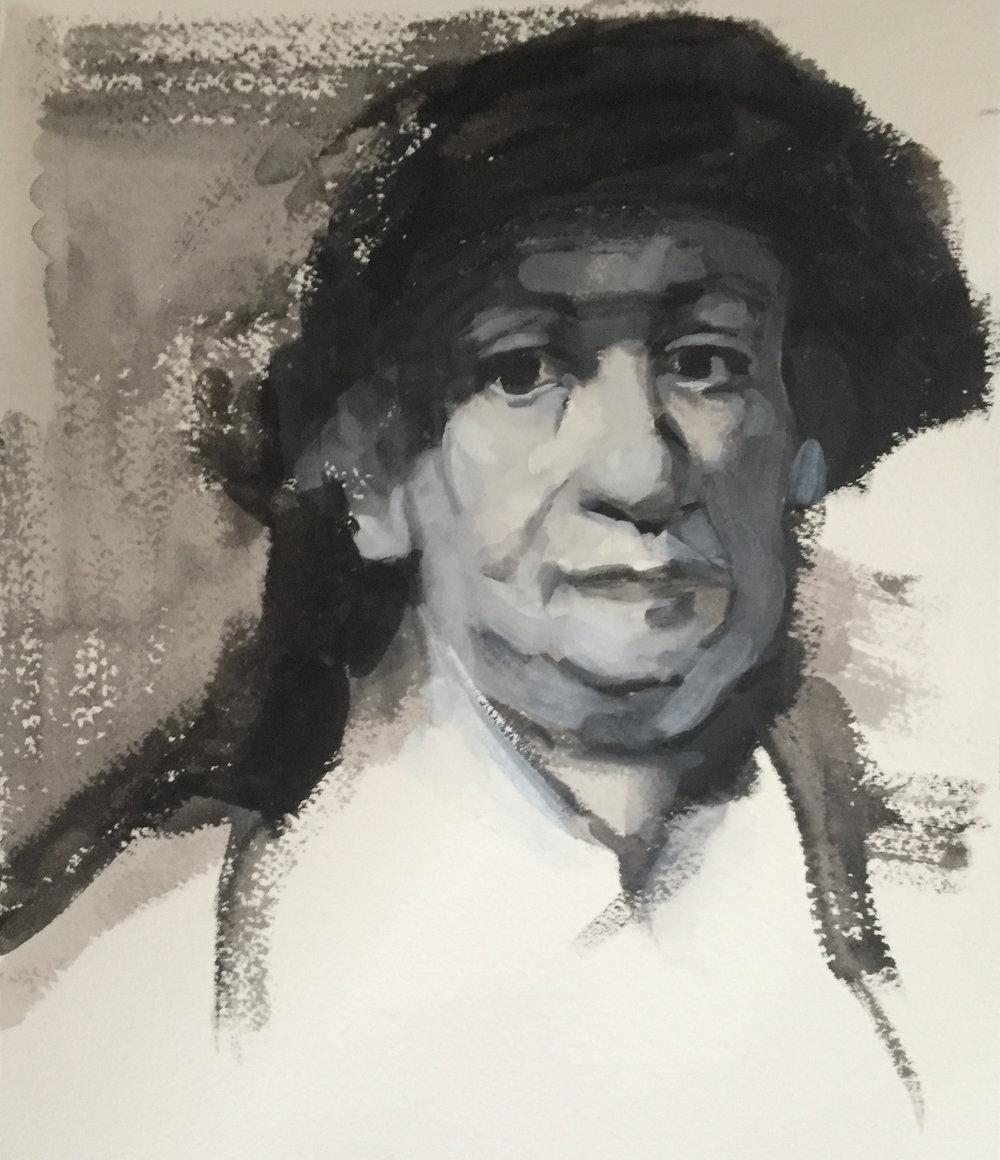 """After Rembrandt (6"""" x 9""""): 2018 – Gouache"""