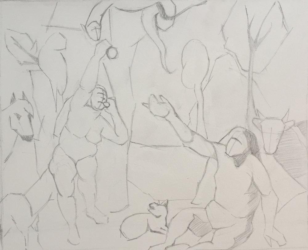 """Adam & Eve (6"""" x 4""""): 2017 –Graphite"""