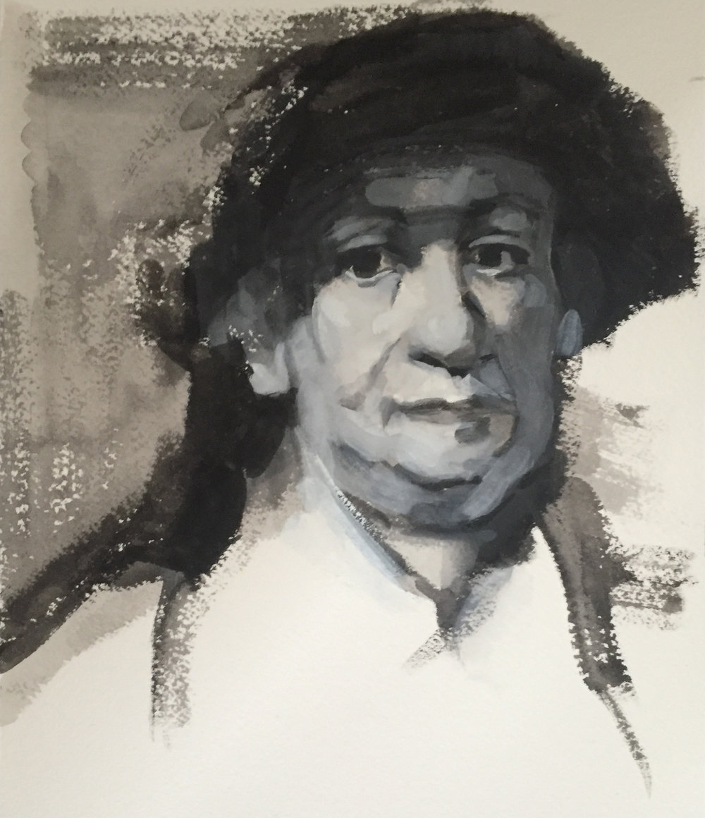 "After Rembrandt (6"" x 9""): 2018 – Gouache on Paper"
