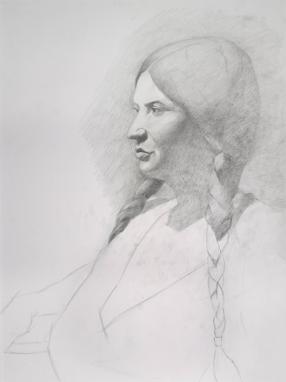 "Woman with Braids (18"" x 24""): 2018 – Graphite"