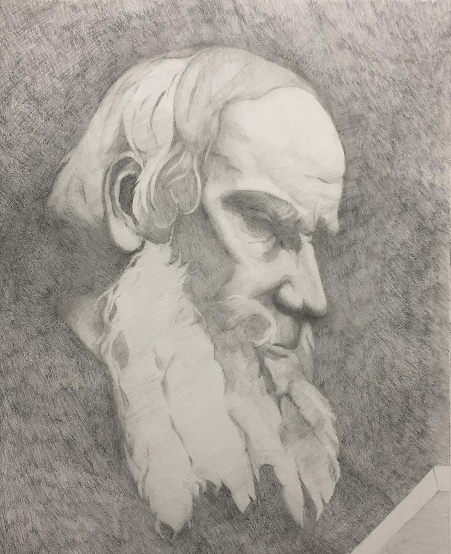 """Leo Tolstoi (10"""" x 12""""): 2019 –Graphite"""