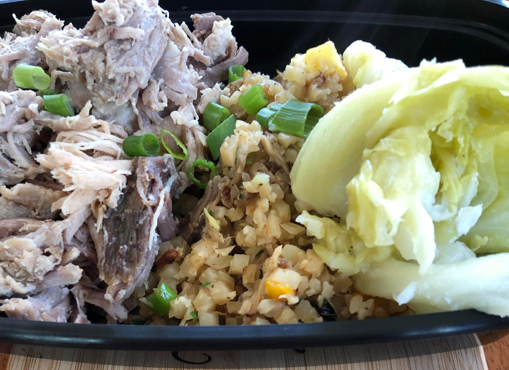 "Kalua Pork with cauliflower fried ""rice"" and cabbage"