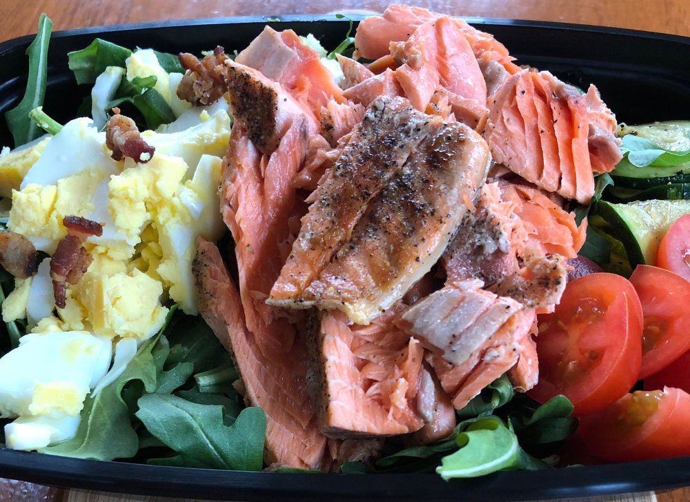 Salmon cobb salad with W30 compliant bacon, zucchini, spring mix salad, and our amazing Ranch dressing