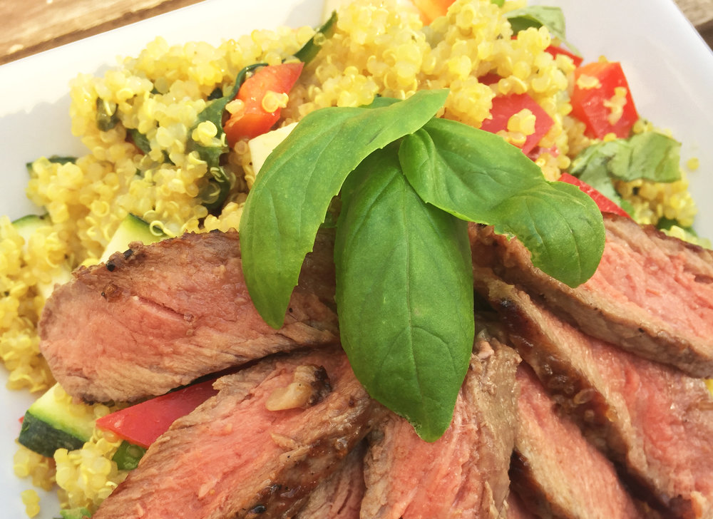 Grilled Flank Steak with Mediterranean Quinoa
