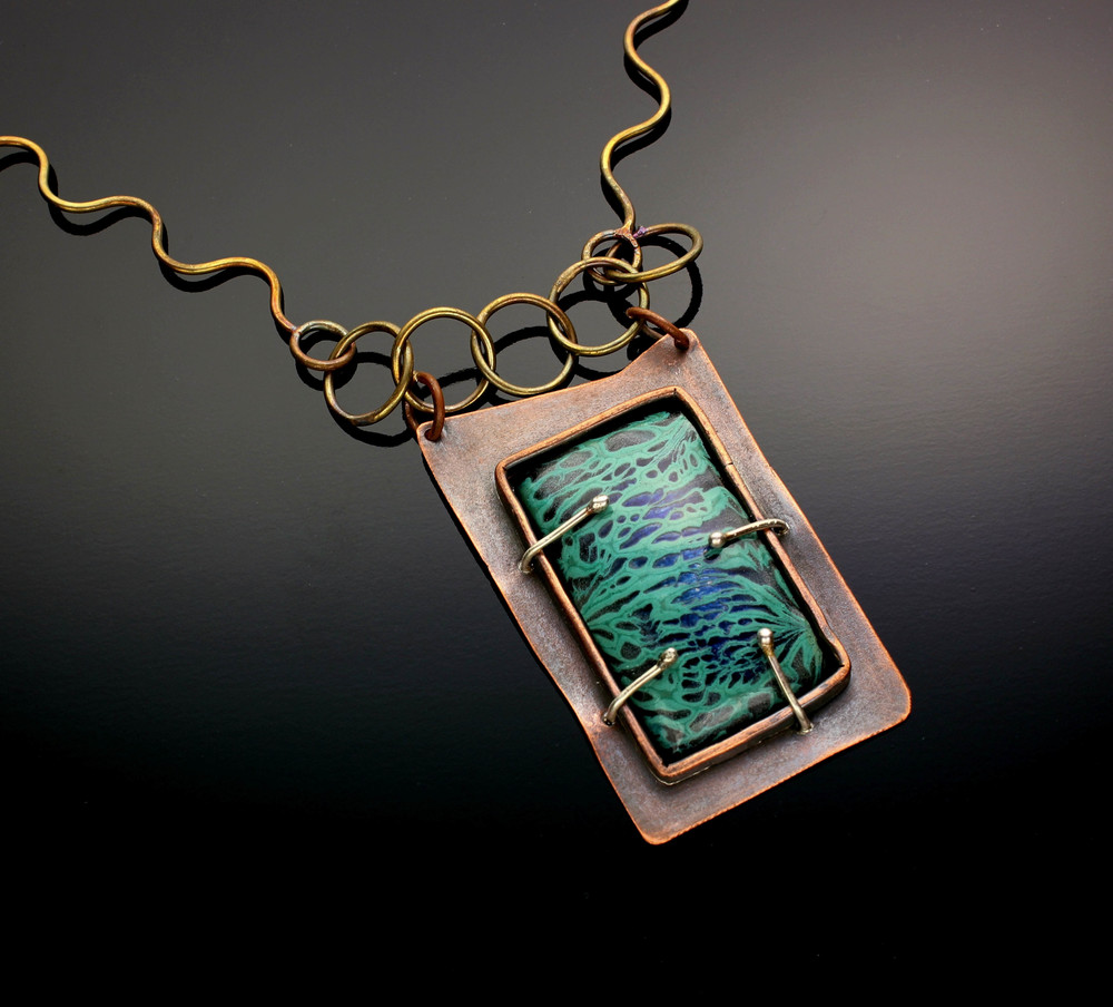 B 77 - Suzanne Love Copper enamel and sterling jewelry. Fold formed, hammered, organic, colorful, experimental, one of a kind.