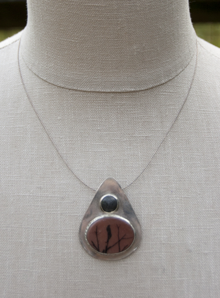 B 44 - Orbitals Jewelry                                               Donna Nolen-Weatherington Jewelry from found objects, handmade image transfer polymer clay pendants and handmade metal pieces