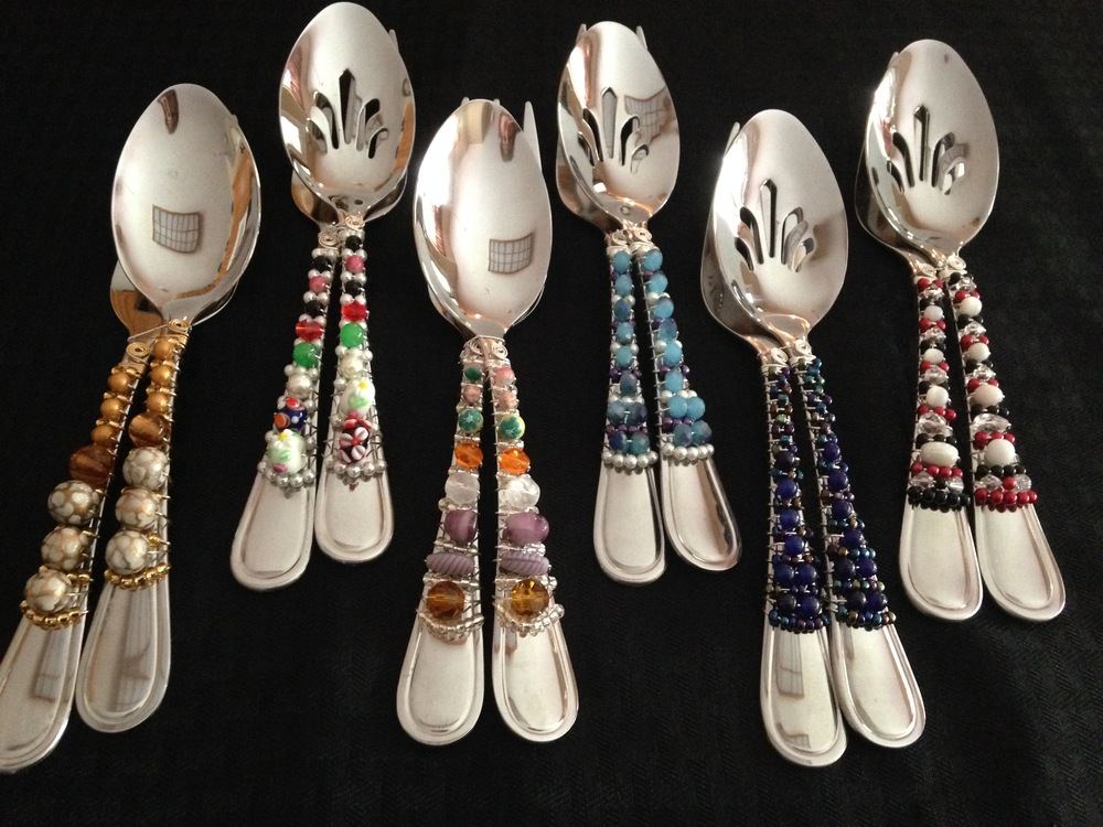 A 59- Serve with Verve                                          Beth Lucas Wire wrapped, beaded serving utensils and coffee scoops.