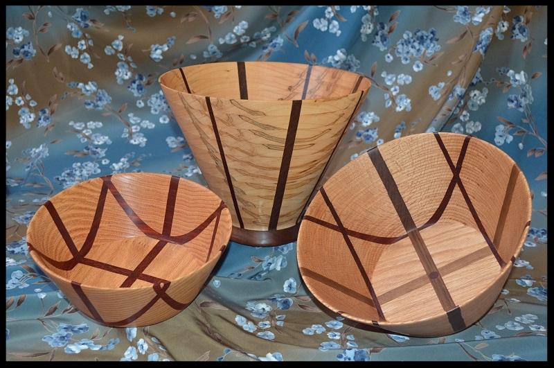B 61- Al Hartman Wood bowls,laser cut wood Christmas ornament,wood wall frame,band saw boxes,wood boxes.