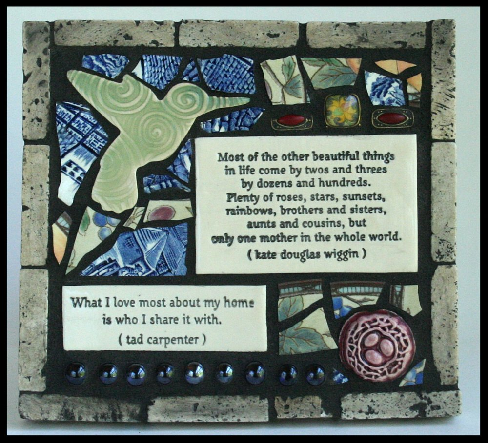 A 35 & 36 - Artfully Out Loud                            Gina Boyle Mixed media mosaics featuring handmade word and quotation tiles.