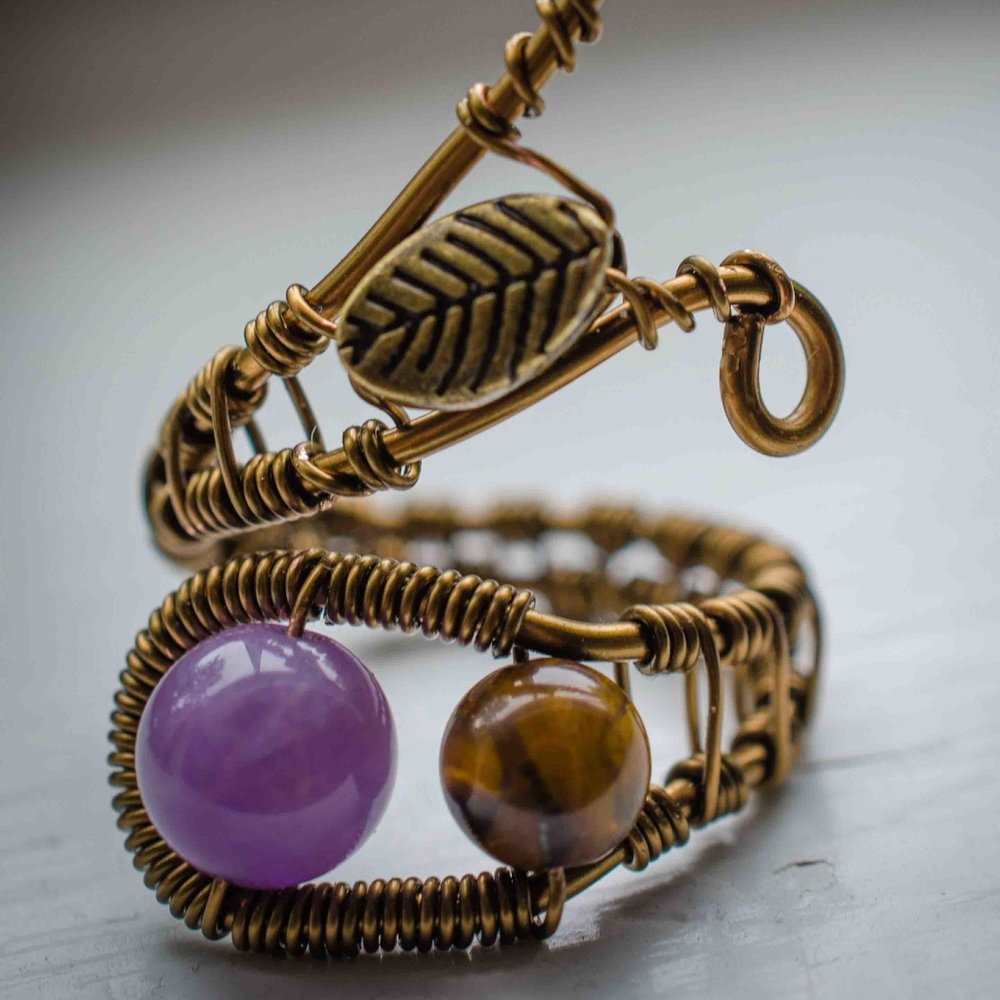 Amethyst & Tiger Eye Adjustable Leaf Ring.jpg