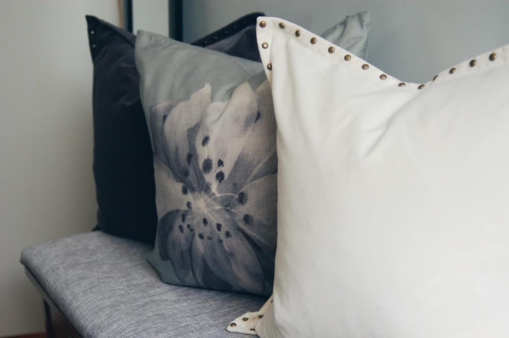 velvet & printed pillows from west elm.