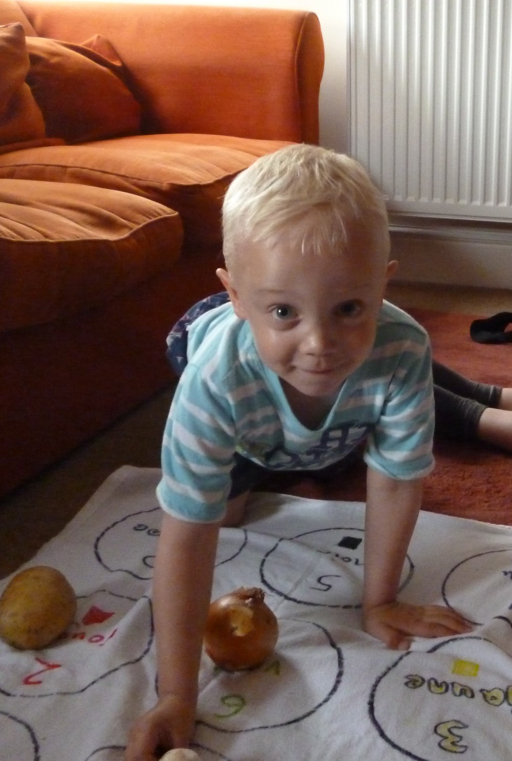Private Toddler Session at my house - Putting the right fruit or vegetable in the right circle!  Summer 2015