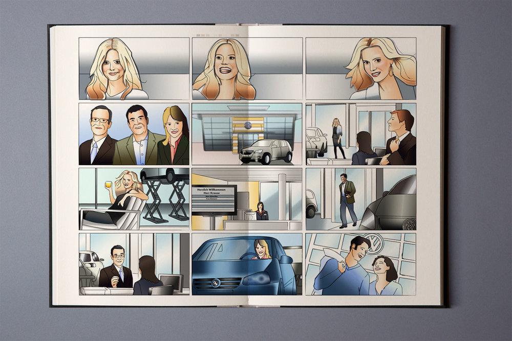 Storyboard für Schulungsfilm, Verkaufsprozesse, VW
