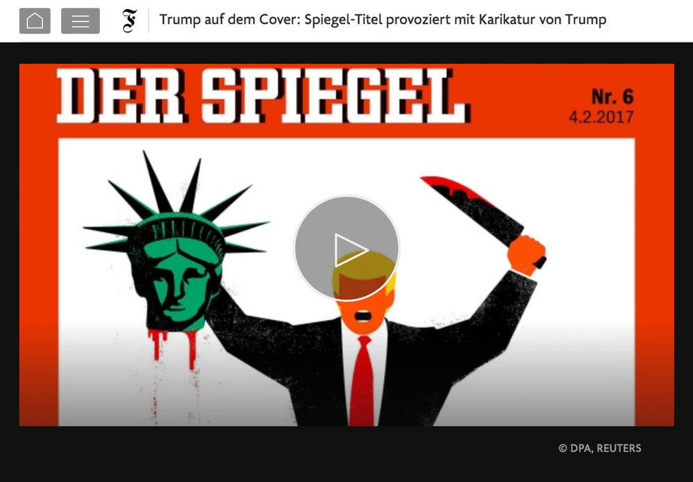 Ein Videobericht mit Meinungen von Passanten und einer Stellungnahme des Chefredakteurs Klaus Brinkbäumer zu einem provokanten Spiegel-Cover im Februar 2017. Quelle FAZ.