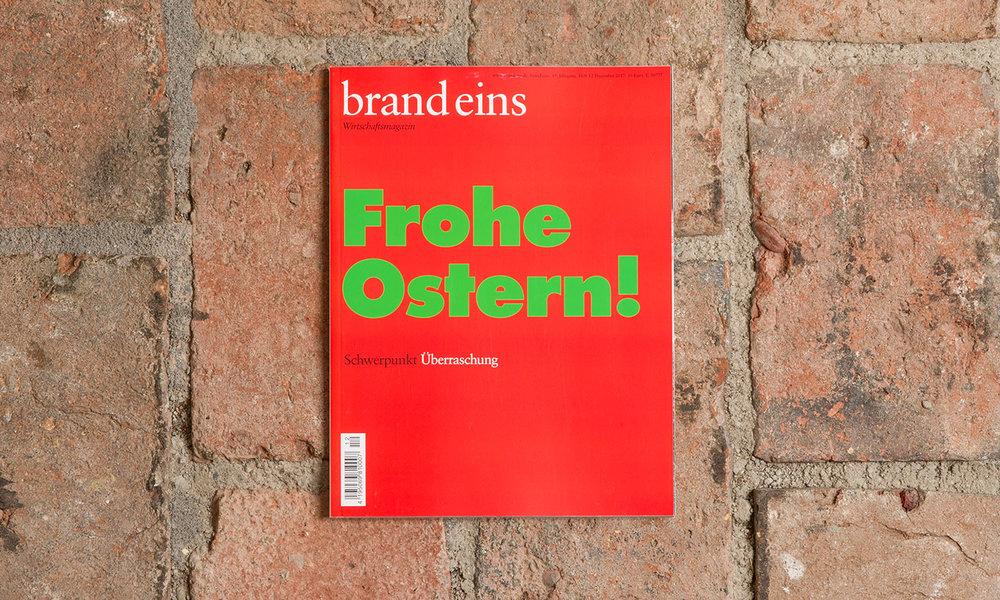 """Weihnachtscover 2017 von """"brand eins"""" zum Schwerpunkt """"Überraschung""""."""