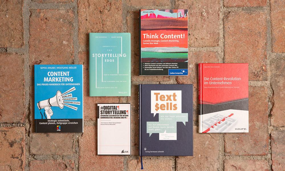 Buchtipp: Content Marketing, The Storytelling Edge, Digital Storytelling, Think Content!, Text sells, Die Content-Revolution im Unternehmen