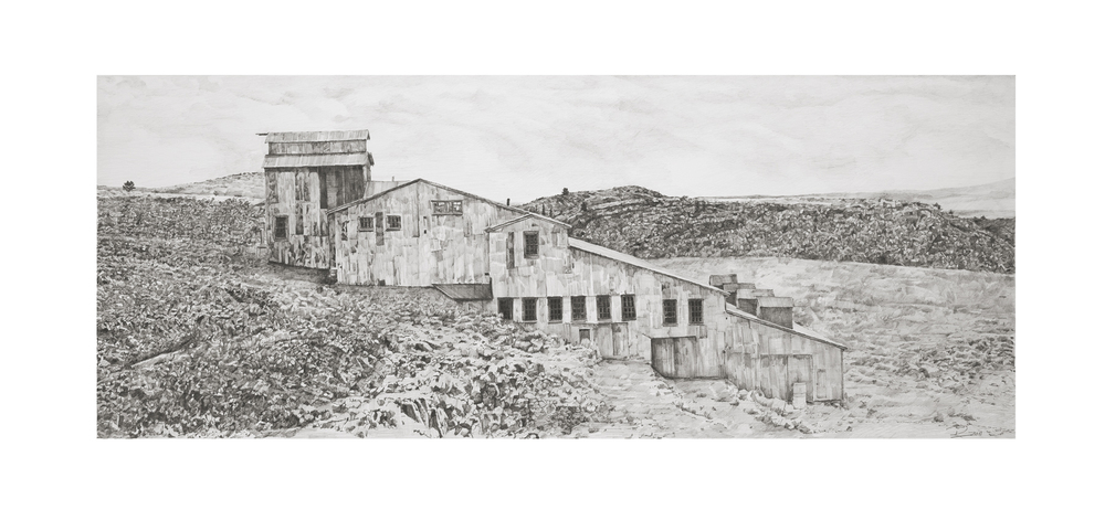 "Gold Mine, South Pass, WY.  Graphite on paper  18"" x 35"""