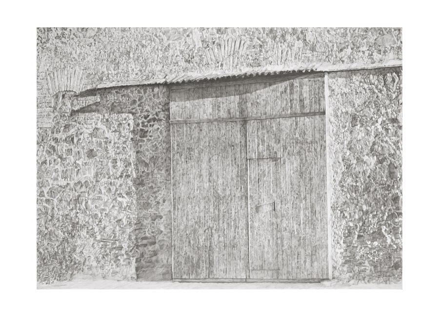 "Vineyard Door, Priorate Valley, Spain  Graphite on paper  32"" x 48"""
