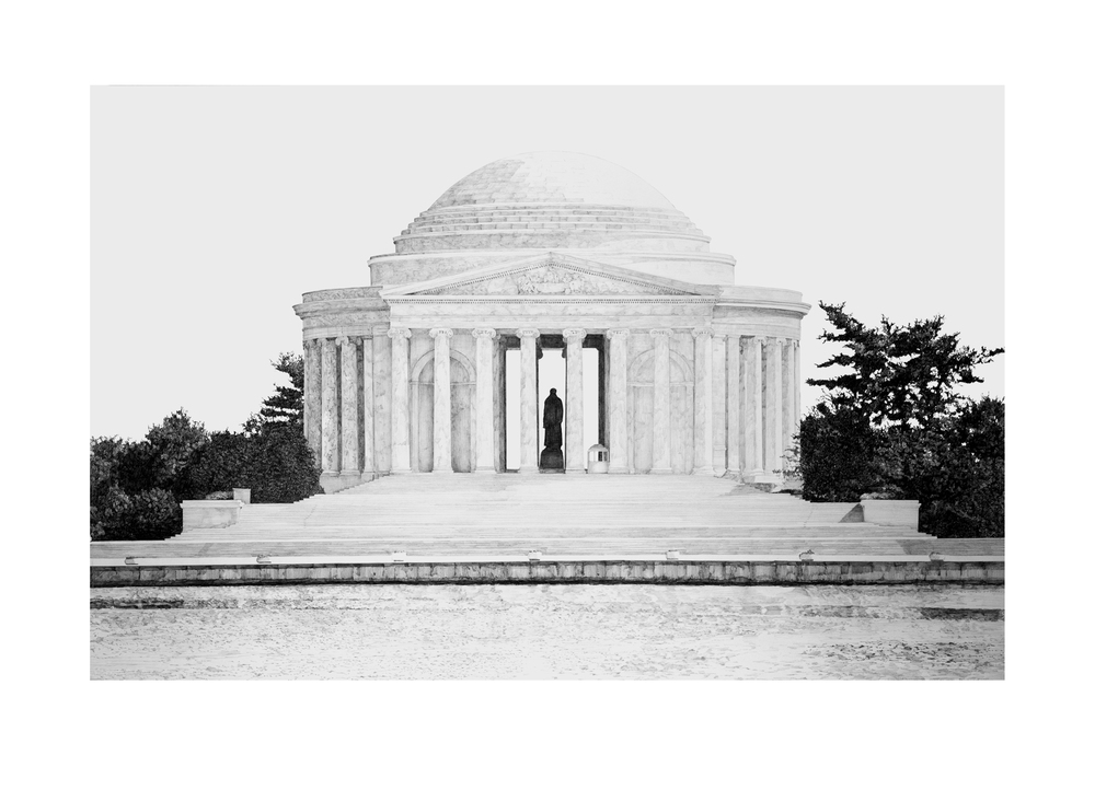 "Jefferson Memorial  Graphite on paper  30"" x 40""  Sold, Corporate Collection"