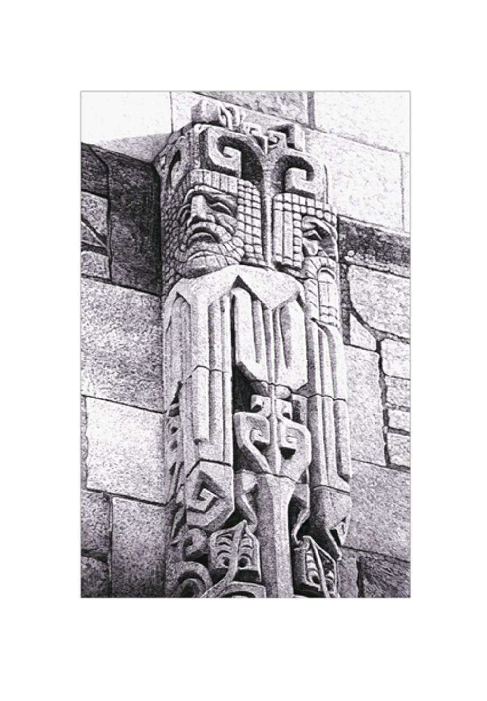 "Yale Totem   This piece won the ""Graphite Award"" at the Nat'l Arts Club, from the Metropolitan Museum of Art, 1993  Private Collection"