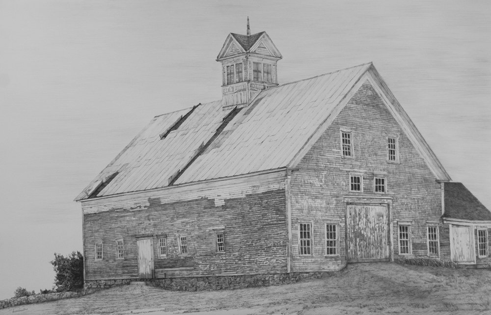 "Before She Blew Down, Gorham, Maine, graphite on paper, 29"" x 41"""