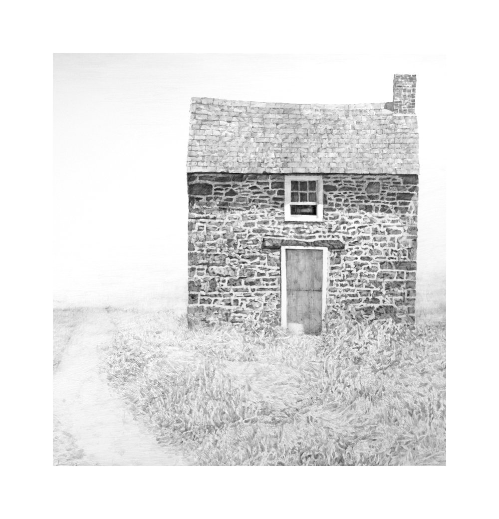 "Chadds Ford House, graphite on Arches paper, 19"" x 18"""