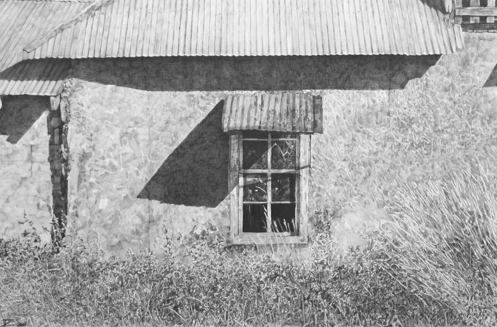 "Old Adobe, Los Ojos, N.M., graphite on Arches paper, 15"" x 24"""